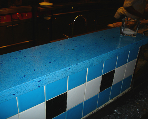aqua blue oyster bar with blue glass - Colored Concrete Countertops