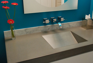 ramp sink in concrete countertop