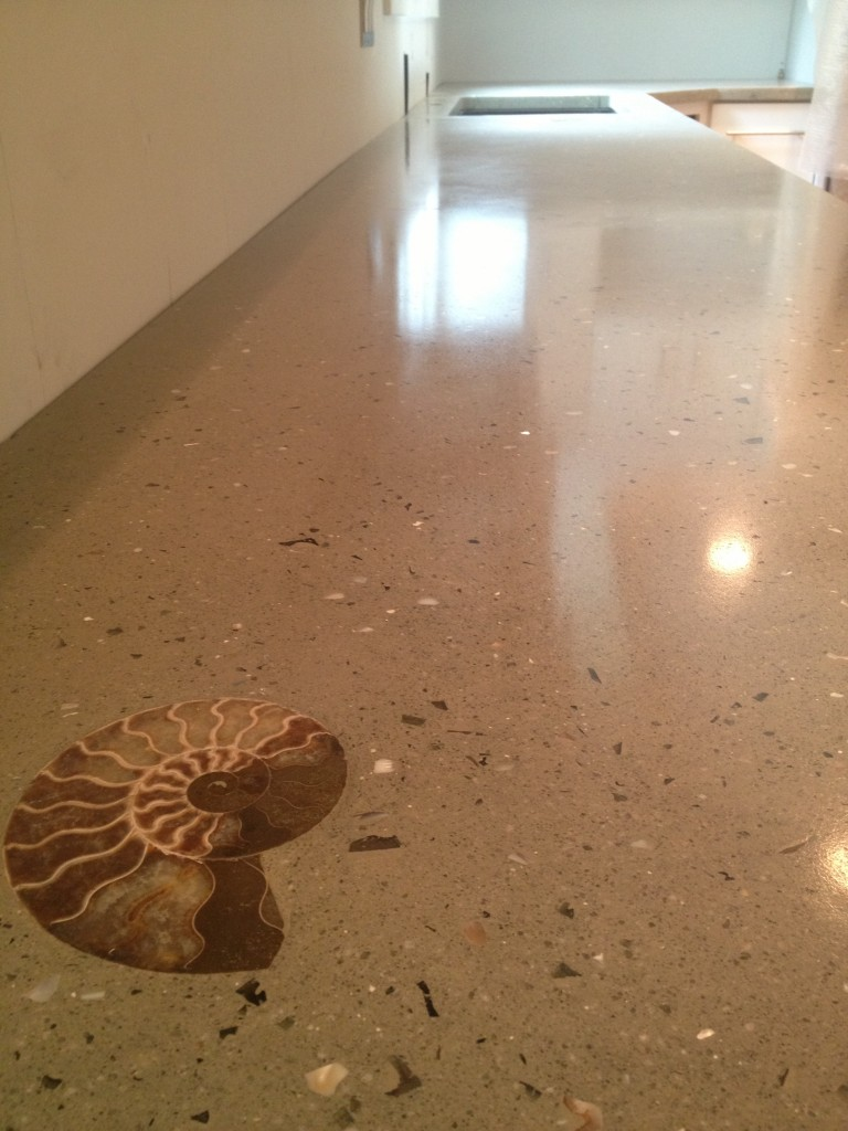 Stunning countertop with embedded shell fossil.