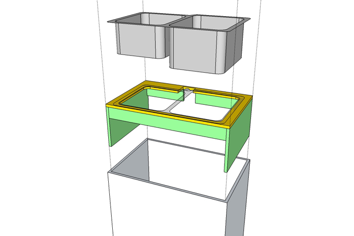 Custom Plywood Shelf for undermount sink