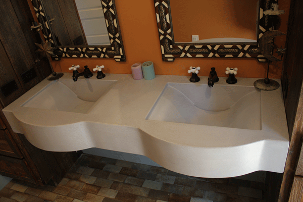 "The second and final vanity for the bathroom, built to replace the first which the customer felt was ""too busy."""