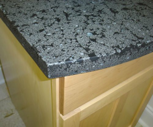 gray concrete with black grout and clear glass