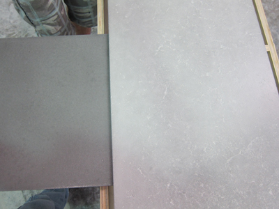 The finished color of the grouted backsplash