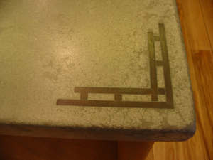 copper embedded in concrete countertop