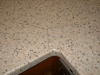 thermal crack in solid surface countertop