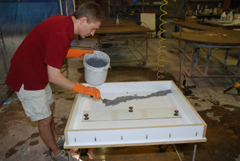"""Placing a """"river"""" of decorative glass aggregate in GFRC"""