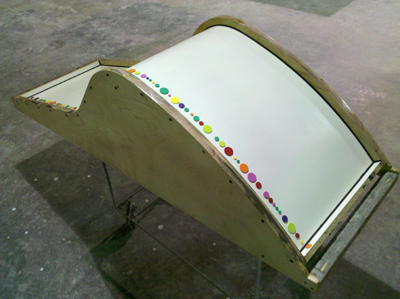 concrete lounge chair mold with dots