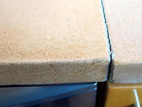 concrete seam opened