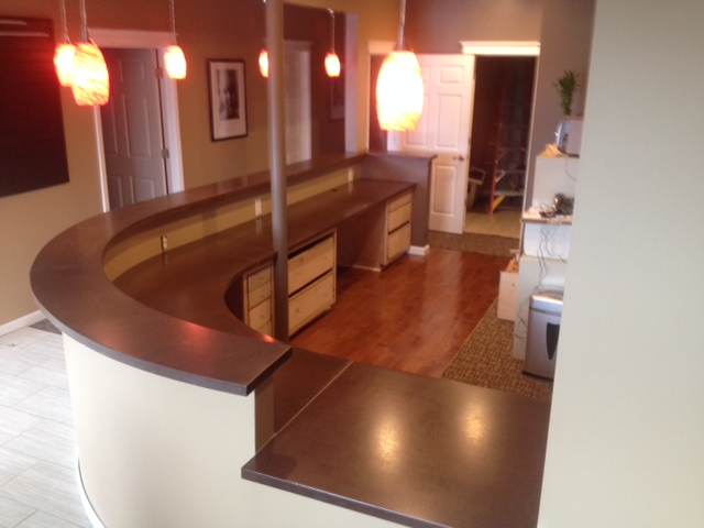 This was the first job Nathan completed, a precast reception desk for a chiropractic office.