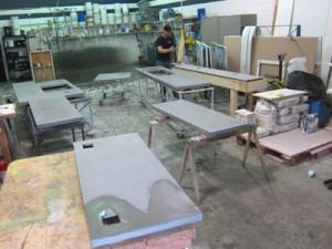 concrete countertop pieces in shop